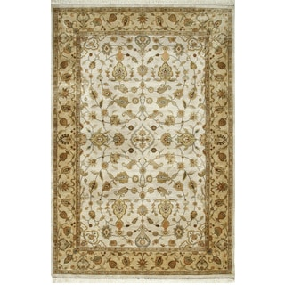 Hand Knotted Cashew/Light Tan Classic Pattern Rug (6' X 9')