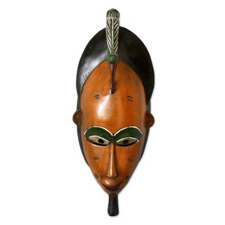 Handcrafted Sese Wood 'Bridal Beauty' African Wall Mask (Ghana)