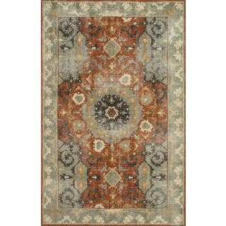Hand Knotted Red Oxide/Sea Green Transitional Pattern Rug (5' X 8')