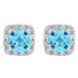 Elora 10k White Gold 2 3/4ct TDW Cushion-cut Blue Topaz and Diamond Stud Earrings (I-J, I2-I3 )