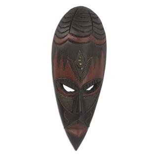 Handcrafted Rubberwood Brass 'Ethiopian Spider' African Harvest Mask (Ghana)