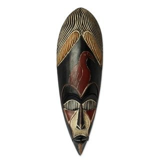 Handmade Rubberwood 'Hausa Spiritual Protector' African Mask (Ghana)