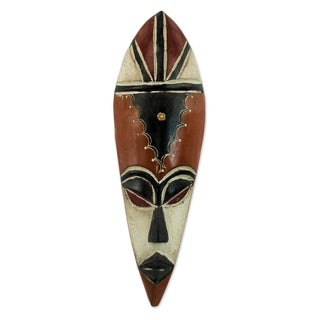 Handcrafted Rubberwood 'Serve Well' African Mask (Ghana)