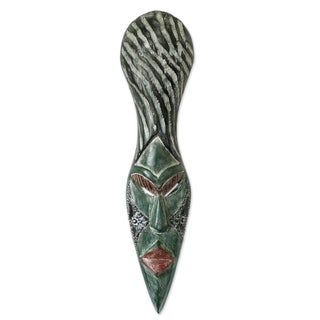 Handcrafted Sese Wood 'Beautiful African Woman' African Wall Mask (Ghana)
