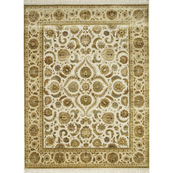 Hand Knotted Medium Ivory/Light Gold Classic Pattern Rug (2'6 X 6')