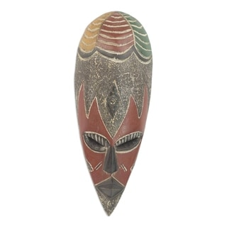 Handcrafted Rubberwood 'Bountiful Togolese Harvest' African Mask (Ghana)
