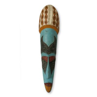 Handcrafted Sese Wood 'As Beautiful as a Peacock' African Wall Mask (Ghana)