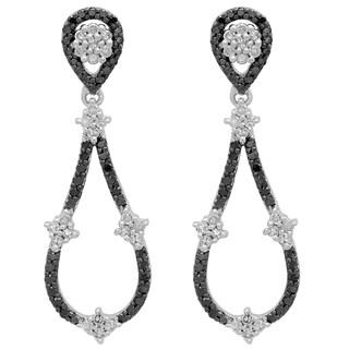 Elora 14k White Gold 1/2ct TDW Black and White Diamond Dangling Drop Earrings (I-J, I1-I2 )