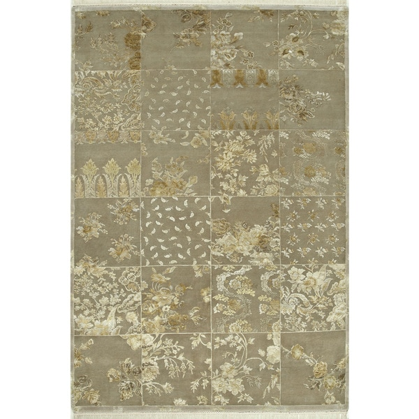 Hand Knotted Gray Traditional Patchwork Pattern Rug (2'6 X 5') - 2'6 x 5