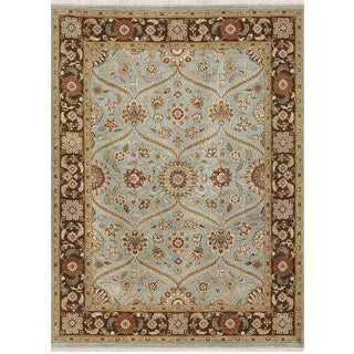 Hand Knotted Ice Blue/Tobacco Classic Pattern Rug (2' X 3')