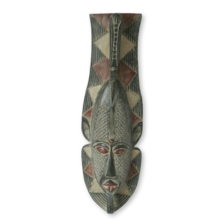 Handcrafted Sese Wood 'Venerable Elder' African Wall Mask (Ghana)