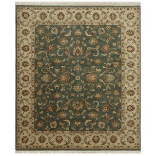Hand Knotted Sea Green/Light Gold Classic Pattern Rug (2'6 X 6')