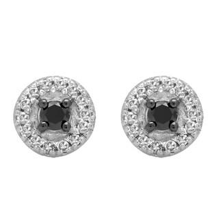 Elora 10k White Gold 1/4ct TDW Round Black and White Diamond Halo Style Stud Earrings (I-J, I2-I3)