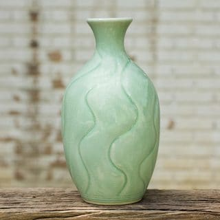 Handcrafted Celadon Ceramic 'Swift Waves' Vase (Thailand)
