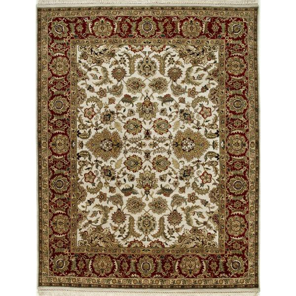 Hand Knotted Dark Ivory/Red Classic Pattern Rug (2'6 X 6')