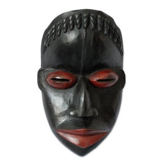 Handcrafted Sese Wood 'Girl's Initiation' African Wall Mask (Ghana)