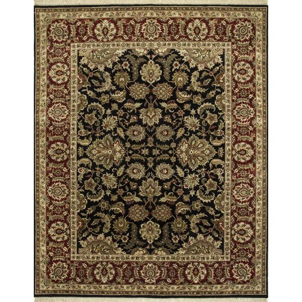Hand Knotted Ebony/Red Classic Pattern Rug (2' X 3')