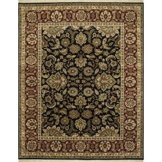 Hand Knotted Ebony/Red Classic Pattern Rug (2'6 X 4')