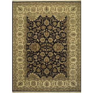 Hand Knotted Ebony/Sand Classic Pattern Rug (2'6 X 4')