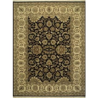 Hand Knotted Ebony/Sand Classic Pattern Rug (2'6 X 6')