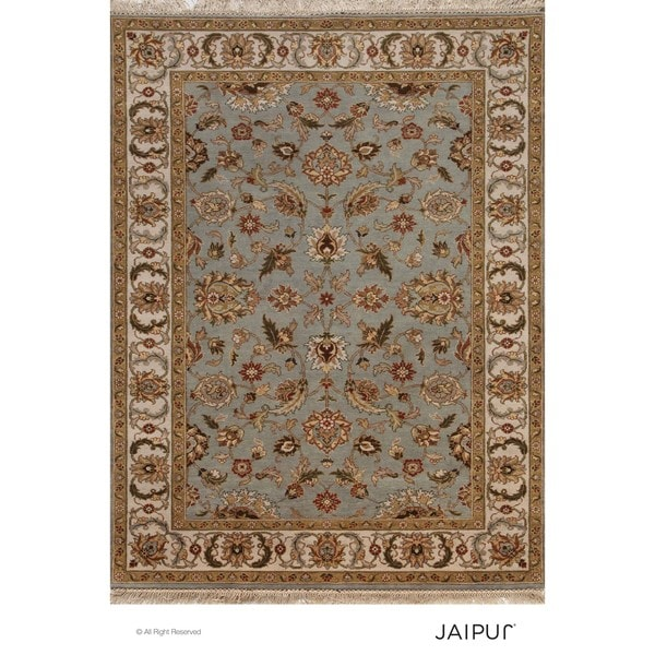 Hand Knotted Ice Blue/Dark Ivory Classic Pattern Rug (2' X 3')