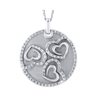 Sterling Silver 1/ 2ct TDW Diamond Shared Heart Pendant (I-J, I2-I3)