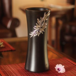Handmade Mango Wood Pewter 'Rainforest Bamboo' Decorative Vase (Thailand)