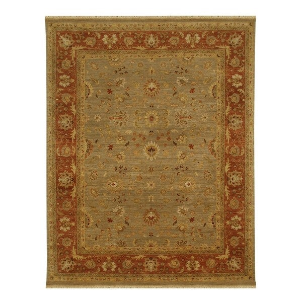 Hand Knotted Lead Gray/Caramel Classic Pattern Rug (2'6 X 4')