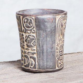 Handcrafted Ceramic 'Maya Commemoration' Decorative Vase (Mexico)