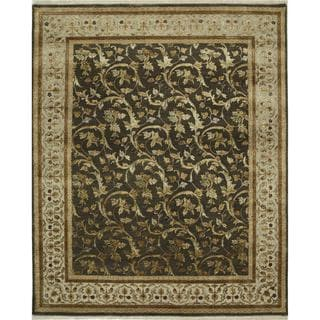 Hand Knotted Mushroom/Silver Transitional Floral Pattern Rug (8' X 10')