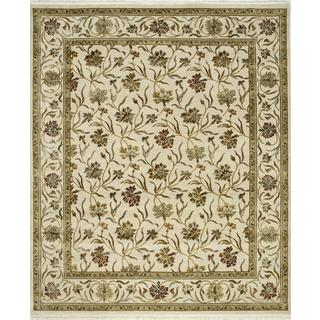 Hand Knotted Antique White Transitional Floral Pattern Rug (9' X 12')