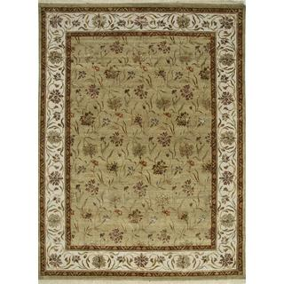 Hand Knotted Light Green/Dark Ivory Transitional Floral Pattern Rug (9' X 12')