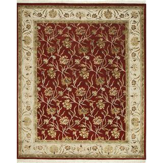 Hand Knotted Red/Beige Transitional Floral Pattern Rug (9' X 12')