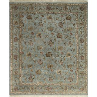Hand Knotted Sea Blue Transitional Floral Pattern Rug (8' X 10')