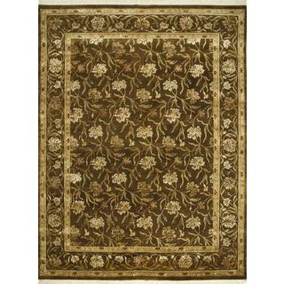 Hand Knotted Tobacco Transitional Floral Pattern Rug (9' X 12')