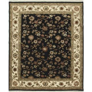 Hand Knotted Ebony/Light Gold Transitional Floral Pattern Rug (8' X 10')