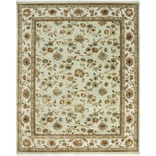 Hand Knotted Fog/Dark Ivory Transitional Floral Pattern Rug (9' X 12')