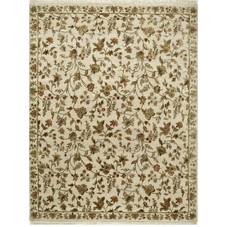 Hand Knotted Dark Ivory Transitional Floral Pattern Rug (8' X 10')