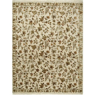 Hand Knotted Dark Ivory Transitional Floral Pattern Rug (9' X 12')