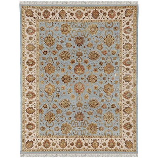 Hand Knotted Ice Blue/Dark Ivory Traditional Oriental Pattern Rug (9' X 12')