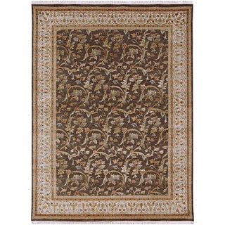 Hand Knotted Mushroom/Silver Traditional Oriental Pattern Rug (9' X 12')