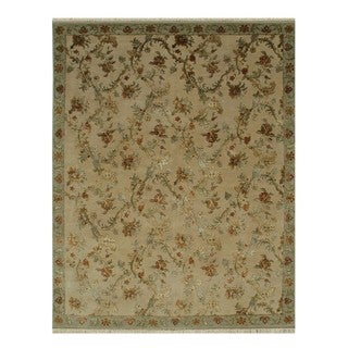 Hand Knotted Dark Ivory/Fog Traditional Oriental Pattern Rug (9' X 12')