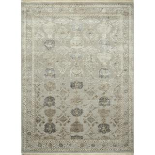 Hand Knotted Soft Gray Transitional Oriental Pattern Rug (9' X 12')