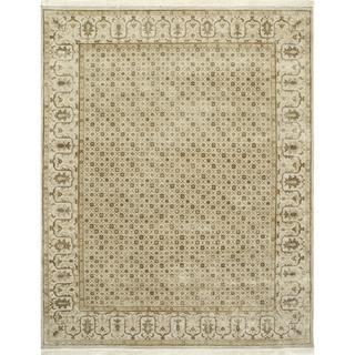 Hand Knotted Linen Transitional Oriental Pattern Rug (9' X 12')