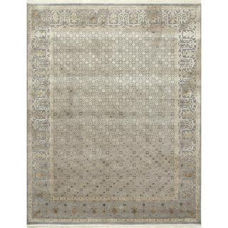 Hand Knotted Slate Blue Transitional Oriental Pattern Rug (9' X 12')
