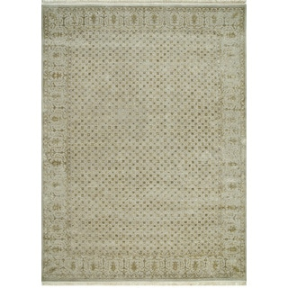 Hand Knotted Soft Gray Transitional Oriental Pattern Rug (6'6 X 9'10)