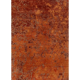 Hand Knotted Red Orange Contemporary Pattern Rug (8' X 10')
