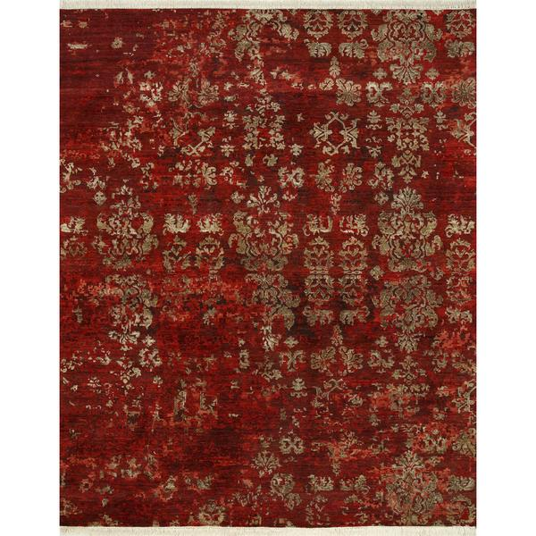 Hand Knotted Ribbon Red Modern Transitional Pattern Rug 9x27 X 12