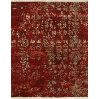 Hand Knotted Ribbon Red Modern Transitional Pattern Rug (9' X 12')