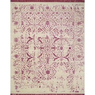 Hand Knotted Creamy White/Fuchsia Bright Transitional Pattern Rug (9' X 12')